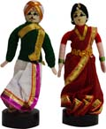 Couple  Pair - Green and Red Andhara