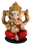 Enchanting Charming Sitting Ganesh - Red
