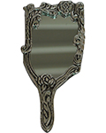 Silvery Hand Mirror Antique Silver -Flower