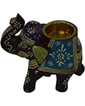 Wrought Iron Decor Wooden Tea Light ElephantIndian