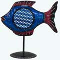 Indian White Metal Decor Fish Candle Stand - Blue