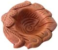 Earthen Floral Leaf Diya Pack of 4