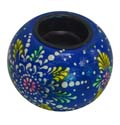 Wood Decor Matka Tea Light Holder - Blue