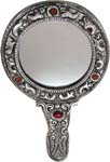 Silvery Hand Mirror Antique Silver - Round