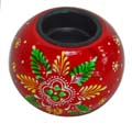 Wood Decor Matka Tea Light Holder - Red