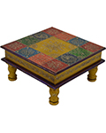 Wood Decor Chequered Painted Stool