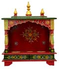 Ethnic Front Open Flat roof mandap - Red / Green