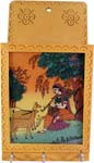 Rich Ochre Key Holder with Gemstone Painting