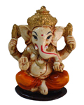 Enchanting Charming Sitting Ganesh - Orange
