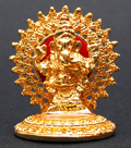 Brass Polished Golden Halo Ganesh