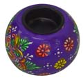 Wood Decor Matka Tea Light Holder  - Violet