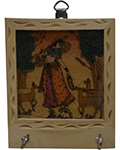 Rich Ochre Key Holder - Lady with Sitar and Deer