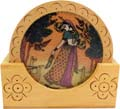 Rich Ochre Tea Coaster Set with Gemstone Painting