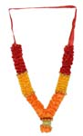 Deity Fancy Satin Mala - Red Orange