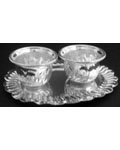 Silvery White Metal Twin Chandan Cup