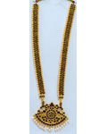 Temple Jewelry Long Necklace With Kemp & Pearls