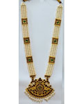 Temple Jewelry Muthu Malai With Kemp And Pearls