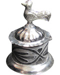Silvery White Metal Peacock Sindoor Box