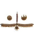 Temple Jewelry Forehead Set with Kemp & pearls for Adults