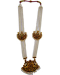 Temple Jewelry Muthu Malai With Kemp & Pearls