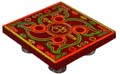 Wooden Puja Stool - Flower