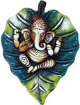 Earthen Leaf Ganesh Panel