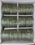 Glass Bangles Green Big Golden Dots 1 Doz 2.4