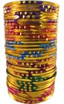 Metal Cut Bangles 6 pcs set. 6 Colors Mix. Size 8