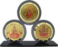 Shiny Triple Photo Stand Lakshmi Ganesh Saraswati