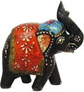 Multicolor Painted Elephant - Black