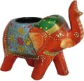 Multicolor Painted Elephant Tea Light - Red