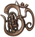 Copper Om Ganesh Wall Hanging Antique Copper Color