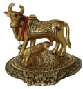 Silvery Cow & Calf Golden Antique Finish