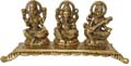 Silvery Lakshmi Ganesh Saraswati Golden Antique Finish