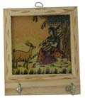 Rich Ochre Key Hanger - Lady with Sitar and Deer