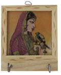 Rich Ochre Key Hanger - Lady with Parrot