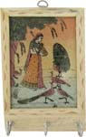 Rich Ochre Key Hanger - Lady with Sitar and Peacoc