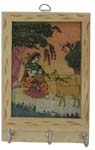 Rich Ochre Key Hanger - Lady with Sitar and Deers
