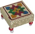 Stool with Plastic Beads Legs Golden Floral Design